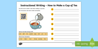 Instructional Writing : How to Make a Cup of Tea Code Hunter - QR Codes, instructions, writing, non-fiction, making, tea