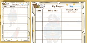 Pirate Themed Reading Teacher Parents Comments Sheet - reading record, pirate, pirate themed, books, parents notes, reading journal, reading diary, reading