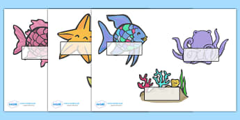 Self-Registration to Support Teaching on The Rainbow Fish - The Rainbow Fish, Marcus Pfister, resources, Rainbow Fish, PSHE, PSE, octopus, shimmering scales, starfish, friendship, under the sea, sea, story, story book, story book resources, story seq
