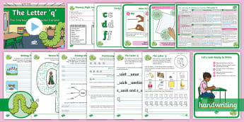 The Journey to Continuous Cursive: The Letter 'q' (Curly Caterpillar Family Help Card 8) KS1 Activity Pack - handwriting, Nelson handwriting, penpals, fluent, joined, legible, letterjoin,