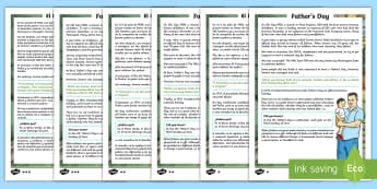 KS2 Father's Day Differentiated Reading Comprehension Activity English/Spanish - Father's Day, comprehension, KS2, reading, differentiated, June, dad, daddy, history, EAL, English-
