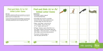Find and Sink /c/ or /k/ Initial Letter Game - speech, articulation, SALT, sentence level, k/c sound