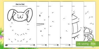 Easter Dot to Dot Worksheet / Activity Sheet - EYFS, Early Years, KS1, Easter, Easter Bunny, chicks, Easter eggs, number recognition, numbers to 10