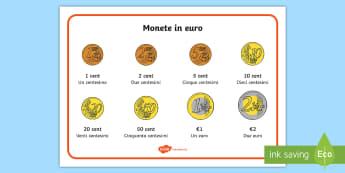 Gli euro in monete Vocabolario Illustrato - monete, denaro, contare, matematica, italiano, italian, materiale, scolastico,Spanish