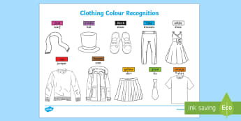 Clothing Colour Recognition Activity Sheets - worksheets, EYFS, Early Years, Clothes, Colours Colouring