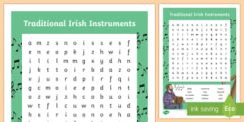 Traditional Irish Music Word Search - ROI - St. Patrick's Day Resources, music, traditional Irish music, trad music, instruments, Ireland