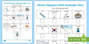 KS1 Winter Olympics 2018 Scavenger Hunt Activity Sheet - PyeongChang 2018, South Korea, Snow sports, ice sports, winter games, worksheet