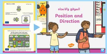 Year 2 Position and Direction Warm Up PowerPoint Arabic Translation - Arabic/English - الإنجليزية / العربية-Arabic-translation - Compass Point PowerPoint, KS1 Maths Warm Up Powerpoints, warm up, Order and arrange combinations of