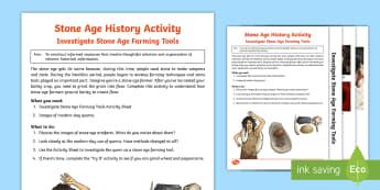 KS2 Stone Age Farming Activity - Prehistoric, Stone Age, Palaeolithic, tool, stone, wood, farming