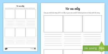 Retelling the Story of Tír na nÓg Writing Frames - ROI Tír na nÓg resources,Irish
