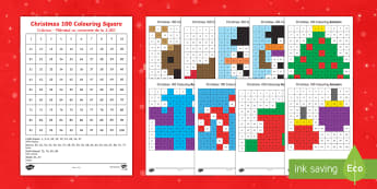 Christmas 100 Square Colour by Number Romanian/English - Christmas Australia, colour by numbers, colouring,