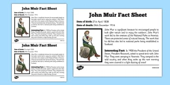 Scottish Significant Individuals John Muir Fact Sheet - Scottish significant individual, conservation, National Parks, Yosemite, Sierra Nevada, United States