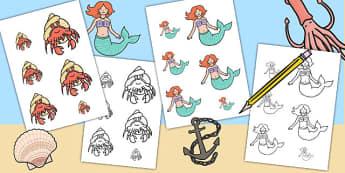 Mermaid Themed Size Ordering - mermaids, fantasy, fairy tales