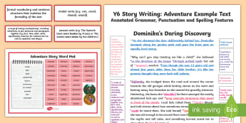 Y6 Story Writing: Adventure Model/Example Text - Example Texts Y6, story, adventure, writing, model, example