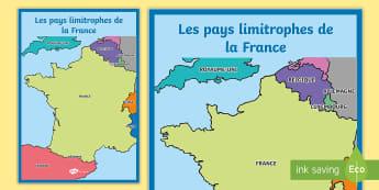 Poster format A2 : Les pays limitrophes de la France - Cartes géographiques, map, cycle 2, cycle 3,  KS2, pays limitrophes, pays frontaliers, France, bord
