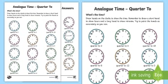 Analogue Time - Quarter To Worksheet / Activity Sheet - NI KS1 Numeracy, quarter to, analogue, clock, time, home learning, Worksheet