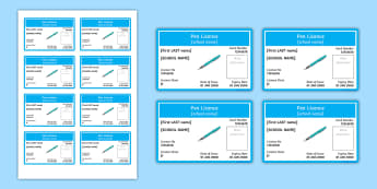 Pen Licences Editable Proforma - Literacy, Australian curriculum, australian pen licences, new south wales, editable, proforma, pen,