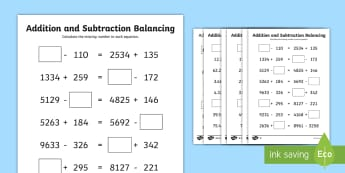 UKS2 Addition and Subtraction Balancing Equations Differentiated Worksheet / Activity Sheets - Balancing equations, balancing sums, puzzles, reasoning, algebra, missing number problems, worksheet