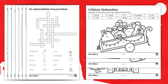 Christmas in Germany Differentiated Activity Sheets German - Christmas, Word Search, Christmas Reading, Fun, Creative, Grammar,German