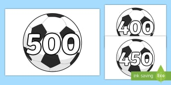 Counting in 50s on Footballs - counting, count, 50, footballs, sports