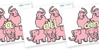 Foundation Stage 2 Keywords on Five Elephants - FS2, CLL, keywords, Communication language and literacy,  Display, Key words, high frequency words, foundation stage literacy, DfES Letters and Sounds, Letters and Sounds, spelling