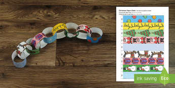 Christmas Themed Paper Chain English/Portuguese - Christmas Themed Paper Chain - activity, activities, crafts, chritmas, chriatmas, christms, christam