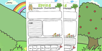 Spring Sentence Unscramble - seasons, weather, literacy, games