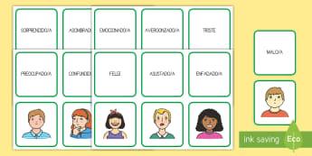 Tarjetas de emparejar: Los sentimientos -  auto-estima, sentimientos, emociones, todo sobre mi, emparejar, tarjetas, tarjeta, emoción, sentim