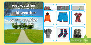 Photo Weather Clothes Sorting Activity English/Italian - Photo Weather Clothes Sorting Activity - photo, weather, clothes, sorting, activity,waether, WHEATHE