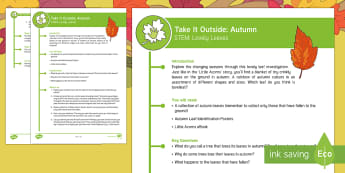 KS1 Take It Outside: Autumn STEM - Lovely Leaves Activity - Little Acorns, twinkl originals, fiction, Outdoor and Woodland Learning, Wonder Investigate Learn Di