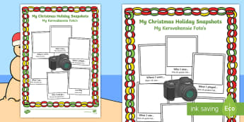 Christmas Holiday Snapshots Writing Frames English/Afrikaans - December, celebrate, traditions, literacy, Desember, geletterdheid, EAL