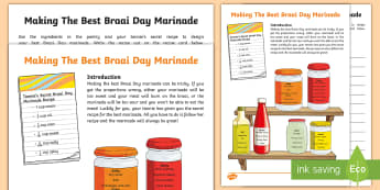 Making The Best Braai Day Marinade Worksheet / Activity Sheet - braai, fractions, word problems, problem solving, milliliters, Recipes, conversions
