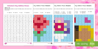 Valentine's Day Themed Addition Mosaics - Valentine's Day,  Feb 14th, love, cupid, hearts, valentine,