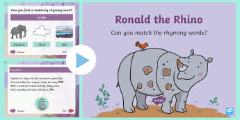 Ronald the Rhino Rhyming PowerPoint - Ronald the Rhino, children's book, rhyme, story, text, rhyming couplets, syllables, Leopard, Python