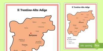 Scuola Primaria: Il Trentino Alto Adige Cartina Politica - italia, regioni, regionale, geografia, mappa, italiano, italian, materiale, scolastico