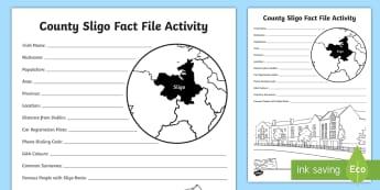 County Sligo Fact File Activity Sheet - ROI Topics -  Sligo, Activity Sheet, Connacht, Geography,Irish, worksheet