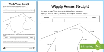 Wiggly Versus Straight Activity Sheet - Maths, measures, length, estimate measure and compare length, measurement, lines, centimetres., meas