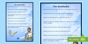 The Beatitudes A4 Display Poster - CfE Catholic Christianity, prayers, mass responses, beatitudes, christian values ,Scottish