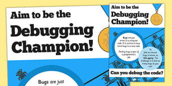 Computing Debugging Champion Poster - computing, debugging, bug