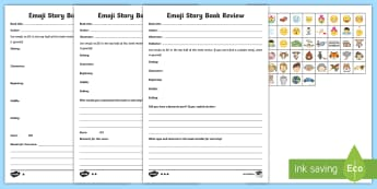 KS2 Emoji Story Book Review Differentiated Activity Sheets - book summary, kS2 reading, Recount, Fiction, story Review, worksheets