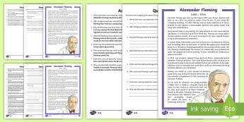 Scottish Scientist Alexander Fleming Differentiated Reading Comprehension Activity - CfE Social Media Requests, science, penicillin, Scotland, Scottish, medicine, medical,body systems a