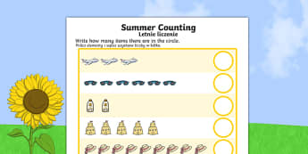 Summer Counting Worksheet Polish Translation - polish, Counting worksheet, Summer, counting, activity, how many, foundation numeracy, counting on, counting back, holiday, holidays, seasons, beach, sun, flowers, ice cream, sea, seaside