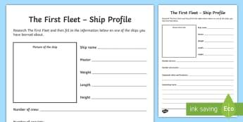 The First Fleet Ships Activity Sheet - Australia, Settlement, First settlement, colonisation, ships, First Fleet ships, The Fishburn, The F