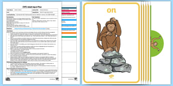 EYFS Cheeky Monkey Position Game Adult Input Plan and Resource Pack - maths, mathematics, shape, space, measure, position, can describe their position, adult led, teacher