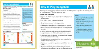 Dodgeball Adult Guidance - PE Curriculum Aims KS2,Play competitive games, modified where appropriate, and apply basic principle