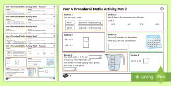Procedural Year 4 Mat 2 Maths Activity Mats-Welsh - Maths Acitvity Mats, matiau mathemateg, gweithgareddau mathemateg, Deunyddiau sampl rhifedd, Profion