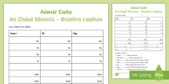 The Past Tense (An Aimsir Chaite - Briathra Leathan) Using Verbs 'Ól', 'Gearr' and Fág' Gaeilge Activity Sheet - Aimsir, Caite, Chéad, Réimniú, Briathra, Leathan, two, Syllable, Practice,Irish, Gaeilge
