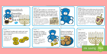 Hanukkah Display Fact Cards English/Mandarin Chinese - translation, jewish, holiday, dreidel, information
