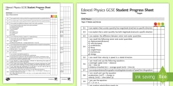 Edexcel Style GCSE Physics, Motion and Forces Progress Sheet - stopping distance, newton's Laws, equilibrium, acceleration, velocity
