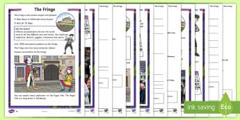 The Edinburgh Festival Fringe Differentiated Reading Comprehension Activity -  Fringe, events, Scottish, reading, comprehension, Scotland, arts, Edinburgh, festivals, drama, musi